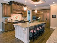 Cwp Custom Kitchen Center Island Custom Range Hood Granite Countertop