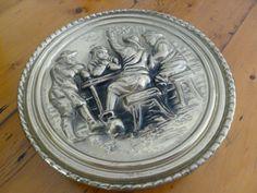 Vintage Brass Tin Wall Vase English Inn Scene by MuskRoseVintage