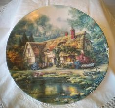 TWILIGHT at WOODGREEN  POND collectors plate by Carl Valente – from the Poetic Cottages collection.