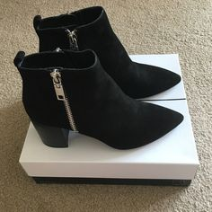 "NEW Dolce Vita Ginnee suede bootie size 9.5 New, never worn, purchased winter 2016, suede pointed-toe bootie with silver zipper hardware, 3"" heel. Comes with box, from smoke-free home. Discounted price for off-season purchase! Dolce Vita Shoes Ankle Boots & Booties"