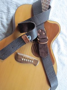 Leather Guitar Strap w/ pick holder- Brown with Copper hardware by Wrought Iron leather. FREE SHIPPING to lower 48 states on Etsy, $32.00