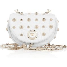 Versace Small studded leather shoulder bag (£781) ❤ liked on Polyvore