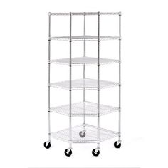 $158  28-inches by 28-inches by 72-inches high (75-inches on wheels)  Weight Capacity (even distribution): 600 lbs per shelf (on leveling feet); 500 lbs per system (on wheels)  Seville Classics 6 Shelf Corner Shelving System with Wheels, NSF Listed