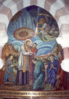 Franciscus Xaverius - ca 1930. Mozaïek Frankrijk, Bourgondië, Paray-le-Monial, herinneringskapel Claude La Colombière Franciscus Xaverius doopt in Achter-Azië.