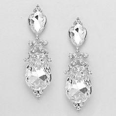 3 Clear Arabian Crystal Earrings Elegant Bridal Prom Jewelry
