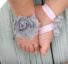 Baby Barefoot Sandals .. Gray Flower with Pink Elastic .. Toddler Sandals .. Newborn Sandals. $6.50, via Etsy.