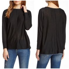 """❄️SALE❄️Love Token faux leathertrim dolman sweater - Faux leather crew neck - Long dolman sleeves - Ribbed cuffs - Paneled construction - Rolled hem - Approx. 26.5"""" length - Imported Fiber Content: Shell: 55% polyester, 20% acrylic, 20% nylon, 5% wool Trim: 100% PU Care: Machine wash Bundle for even bigger savings! Offers welcome. No trades. Love Token Sweaters Crew & Scoop Necks"""