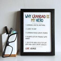 Personalised Why Grandad Grandpa Is My Hero Print