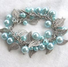Pretty blue and silver leaves charm bracelet