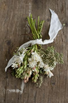 hyacinnths and white ribbon...