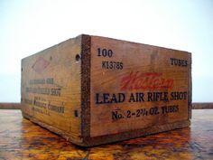 Vintage Western Ammo Box, Wood, Small Wood Crate, East Alton, Illinois