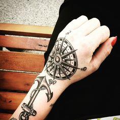 Love this compass hand tattoo!!