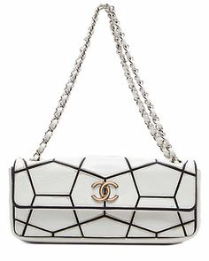 Some of you have to get in on this: Chanel White Mosaic Lambskin Medium East West Flap Bag