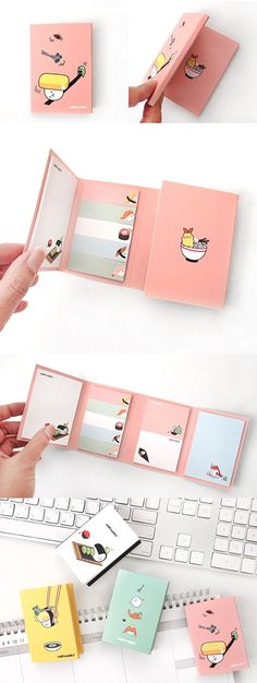 Do you like Sushi? Let me introduce the cutest sushi themed sticky note set, the Sushi Folding Sticky Notebook! Adorable sushi illustrations are printed throughout this sticky notebook which makes it delightful to use. ^_^ 2 large sticky notes and 2 medium sticky notes and 5 index sticky notes are included so that you can use the right size sticky note as needed. Write memos, short messages and mark pages with this exceedingly cute Sushi Folding Sticky Notebook!