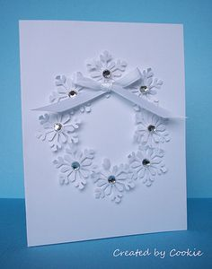 Snowflake Wreath using punch...simple and elegant