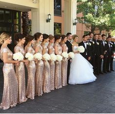 Love Those rose gold bridesmaid dresses