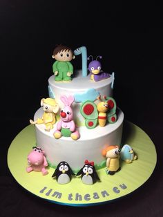 Baby TV Cake Cake by weennee Baby Tv Cake, Baby Cakes, Fondant Cakes, Cupcake Cakes, Cup Cakes, 1st Birthday Cake For Girls, Birthday Ideas, Happy Birthday, Novelty Cakes