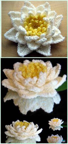 Crochet Water Lily Flower Free Pattern [Video] - Crochet 3D Flower Motif Free Patterns