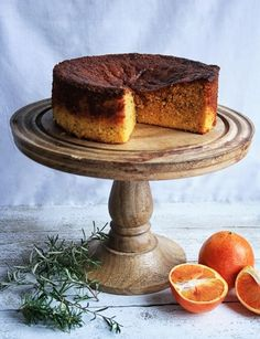 This Blood Orange Rosemary Polenta Cake is made with whole oranges, boiled then pureed to create an incredibly moist and intensely citrusy cake. Gluten Free Cakes, Gluten Free Desserts, Just Desserts, Delicious Desserts, Baking Recipes, Cake Recipes, Polenta Cakes, Food Crush, Blood Orange