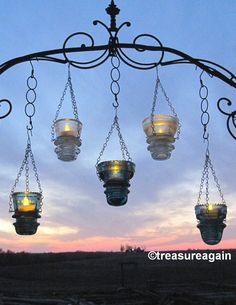 DIY Insulator Hanger Lantern Tea Light Holder Outdoor Hanging