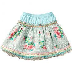 In een bekende Room Seven print is deze rok(Sabini). een ruit en stippen motief siert de gehele rok, een rozenprint maakt van deze rok een plaatje!