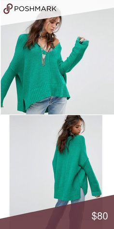 """Free People """"Take Me Over"""" Sweater Slouchy and oversized V-neck jumper in a chunky knit. Contrast solid trim at the back neck and sleeves. Wide long sleeves. Side vents. Ribbed hem. Hand Wash Cold. Import. 38% Acrylic. 3% Nylon. 1% Spandex. 58% Cotton. Free People Sweaters V-Necks"""