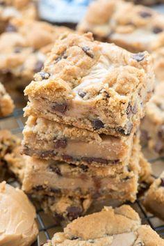 Gooey Peanut Butter Chocolate Chip Cookie Bars - An easy chocolate chip cookie bar stuffed with a gooey peanut butter mixture. This is such an easy recipe!