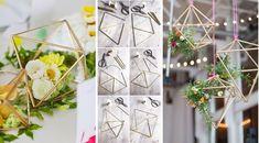 Decorazione centrotavola geometrica al ricevimento di nozze