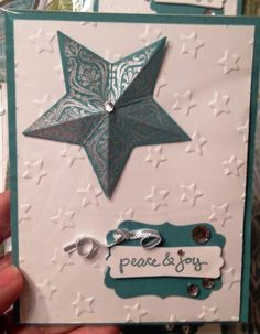 Christmas Card Idea - Peace and Joy - Stampin Up Bright and Beautiful, Good Greetings, Lucky Stars, Lost Lagoon #cardmaking #holiday #handmade #diy