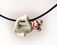 Sock Monkey Pendant in Traditional Gray MADE TO ORDER in Polymer Clay by MagicByLeah, $25.00