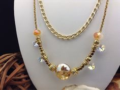Amber Sunset Swarovski Crystal, Faceted Sunburst Amber Glass and Gold Chain Necklace on Etsy, $40.00