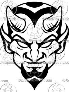 drawings of the devil   Black & White Devil Clip Art   Black & White Devil Graphics   Black ...