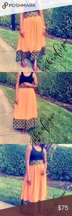 Ankara African Print & Chiffon Maxi Skirt Handmade in Africa. bright orange chiffon mix + Ankara Print mix. Patch work Skirt. Fits a US 12-14. New. Versatile Skirt Nikarafrique Skirts Maxi