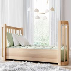 The Wave Crib   Natural Wood Modern Convertible Mini-Crib and Full Crib with Toddler Bed   Nestig Baby Boy Rooms, Baby Room, Mini Crib, Away We Go, Wood Accents, All About Eyes, Innovation Design, Midcentury Modern, Natural Wood