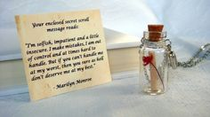 Bottle Necklace, Famous Marilyn Monroe Quote Necklace