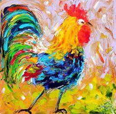 Original oil Morning Rooster Bird PALETTE KNiFE by Karensfineart
