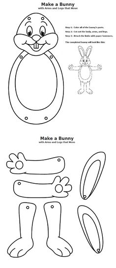 Here comes Peter Cottontail, hoppin' down the bunny trail, hippity, hoppity, Easter's on its way! Color and cut out the rabbit's parts, then attach them together with brass paper fasteners.