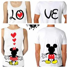 LOVE Mickey and Minnie's Backs Couples Matching Shirts and Tanktop. Matching Couple Outfits, Matching Couples, Cute Couples, Disney Shirts, Disney Outfits, Cute Outfits, Twin Outfits, Matching Sweaters, Matching Shirts