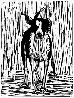 Scratch the Dog, Howard Towll, woodcut Art And Illustration, Linocut Prints, Art Prints, Block Prints, Dog Artwork, Linoprint, Wood Engraving, Tampons, Woodblock Print