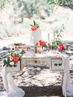 Cake Table with Flowers | photography by http://www.romabeaimages.com/