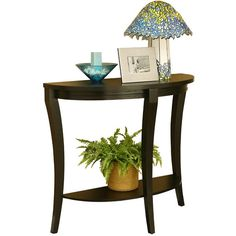 Hokku Designs Crescent Ridge Console Table (1.105 HRK) ❤ liked on Polyvore featuring home, furniture, tables, accent tables, shelf furniture, home storage furniture, storage console table, storage shelves and top table