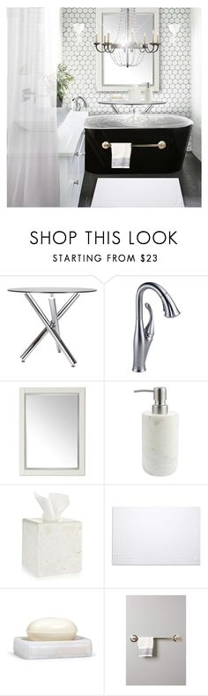 """""""Warm Bath"""" by jessiediy ❤ liked on Polyvore featuring interior, interiors, interior design, home, home decor, interior decorating, Dot & Bo, Delta, Universal Lighting and Decor and John Lewis"""