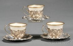 Set of Twelve Sterling Demitasse Cups and Saucers with Lenox Liners   Sale Number 2519B, Lot Number 1176   Skinner Auctioneers #turkishcoffee #coffeeset #turkishcoffeepot China Cups And Saucers, Coffee Cups And Saucers, Cup And Saucer Set, Tea Cup Saucer, Tea Cups, Turkish Coffee Cups, Arabic Coffee, Chocolate Cafe, Chocolate Pots