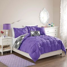 Victoria Classics Emma Pintuck Damask Reversible Comforter Set ($126) ❤ liked on Polyvore featuring home, bed & bath, bedding, comforters, twin comforter sets, purple twin comforter set, purple comforter, black and white damask bedding and black and white damask comforter