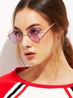 c911a0c695e746 Shein Gold Metal Frame Round Glasses Lunettes, Accessoires, Accessoires  Pour Femmes, Femmes À