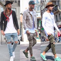 I like the looks in the middle and far right Fashion Mode, Dope Fashion, Urban Fashion, Mens Fashion, Fashion Outfits, Street Fashion, Urban Street Style, Streetwear Mode, Streetwear Fashion