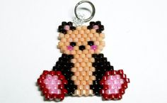 "Beaded Teddy Bear Charm / Pendant, Miyuki Seed Beads, Cute Animal Accessory / Jewelry, Brick Stitch Bead Weaving - ""Theo"""