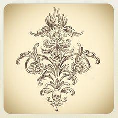 Kat Von D's Blog: Skull damask design i sketched! (Possibly for the lining of…