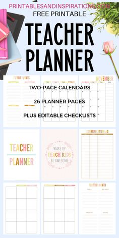 2020 2021 Teacher Planner Free Printable - Printables and Inspirations Teacher Calendar, Teacher Planner Free, Kids Planner, Lesson Planner, School Planner, Teacher Binder, Planner Pages, Planner Ideas, Planner Diy