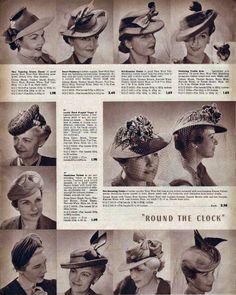 1942 Hats Catalog Page #6 vintage fashion style hats 40s war era photo print ad catalog